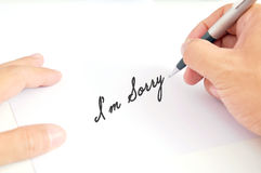 Man's hand writing Stock Photography