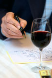 Man's hand writing letter stock photos