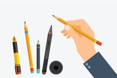 Man`s hand with writing tools and office supplies set. Flat illu. Stration of human male hands with pen, pencil and Digital pen. Vector isolated on white royalty free illustration