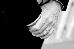 Man's hands. Hands of man in suit, nervous tension Royalty Free Stock Photos