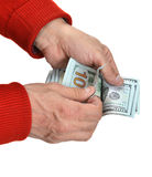 Man's hands counting dollar cash money Stock Photography