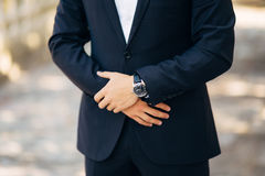 Man`s hands. He crossed his fingers Royalty Free Stock Photo