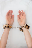 Man's hands in furry and metal sex toy handcuffs Stock Photo