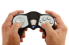 Man's hands with the game controller. On a white background Royalty Free Stock Image