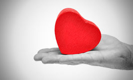 Man S Hands Gifting Heart On Valentine Day Royalty Free Stock Photography