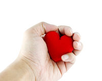 Man's hands with heart Stock Photography