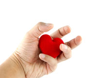 Man's hands with heart Stock Photos