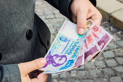 Man's hands holding Hungarian money Royalty Free Stock Image