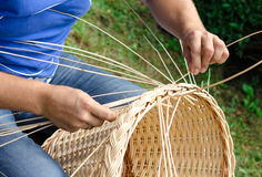 Man's hands making a wicker basket. Royalty Free Stock Image