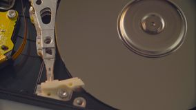 Man`s hands opening the hdd cover. Macro shooting of man`s hands opening the hard disk drive cover stock footage