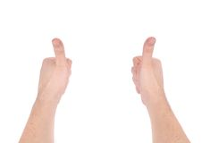 Man's hands show thumbs up. Royalty Free Stock Images