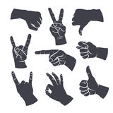 Man's hands signs. Human gestures icons. People hand signs. Man hands outline isolated on white background. Ok, thumb up, thumb down, fig, victory, pointing Royalty Free Stock Images