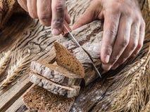 Man's hands sliced bread. Stock Image