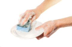 Man's hands washing dishes. On a white background Stock Photos
