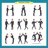 Man`s handshake. Business people teamwork, set of Businessmen in different poses, standing, arms crossed, handshaking vector illustration
