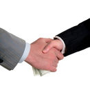 Man's handshake and the transfer of money Royalty Free Stock Image