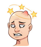 Man's head with a bump. Cartoon man's head with a bump and stars Royalty Free Stock Photo