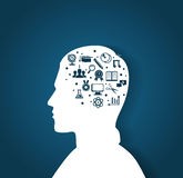 Man's head with education icons Stock Image