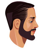 Man's head in profile, men face, side view, face in profile, bearded man. Vector illustration of man's head in profile, men face, side view, face in profile Royalty Free Stock Image