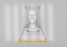 Man's head in the shopping cart Stock Photos