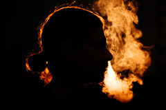 Man`s head in the smoke Royalty Free Stock Photo