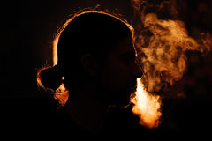 Man`s head in the smoke Royalty Free Stock Photography