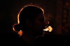 Man`s head in the smoke Stock Images