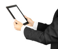 Man's holding a tablet Stock Photography