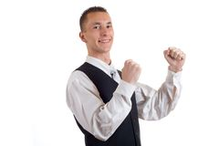 Man's hurrah. Very good news - young businessman - very happy Stock Images