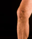 Man's knee and calf Royalty Free Stock Images