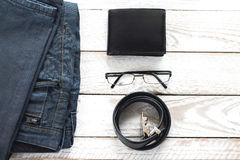 Man's latest trends and fashion accesories. Stock Photo