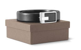 Man's leather belt with a box. On white background Royalty Free Stock Photo