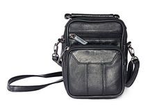 Man's leather black bag Stock Photo