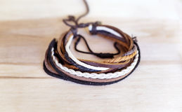 Man's leather bracelets royalty free stock photo