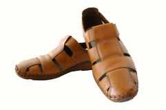 Man's  leather brown shoes. Man's summer leather brown shoes (sandals or mocassins Stock Images