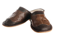 Man's leather slippers Royalty Free Stock Photo