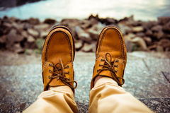 Man's leather top sider shoes Royalty Free Stock Image