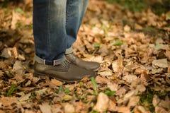 Man's legs in autumn season Stock Photography