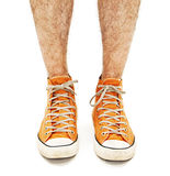 Man's legs in vintage orange shoes Royalty Free Stock Photo