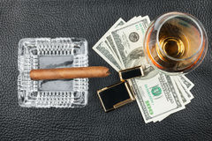 Free Man`s Lifestyle Is Alcohol, Money, Smoking. Royalty Free Stock Images - 96925519