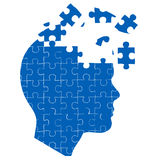 Man's mind with jigsaw puzzle Royalty Free Stock Photography