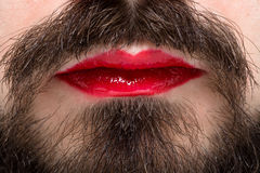 Man's Mouth with Red Lipstick Royalty Free Stock Image