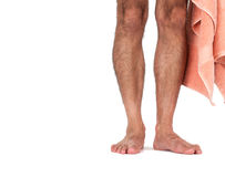 A man's naked legs Stock Photo