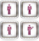 Man's Occupation. Icons set (part of the 2 Colors Chrome Icons Set Royalty Free Stock Photos