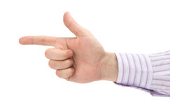 Man's pointing finger Stock Images