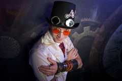 Man's portrait in steam punk style Stock Photos