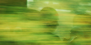 Man's profile. Reflection in moving train window. Stock Images