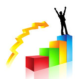 A man's rise to success. A graph illustration of a man's rise to success stock illustration