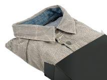 Man's shirt in gift box Stock Photos