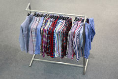 Man's shirts at  exhibition stand in  show room Royalty Free Stock Images